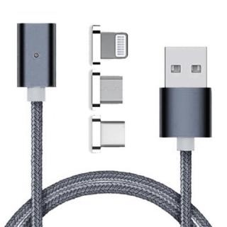 USB data kabal MAGNETNI 3in1 za Iphone lightning/micro/Type C srebrni 1m