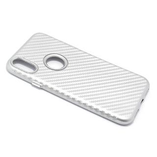 Futrola silikon CARBON za Iphone X srebrna