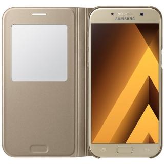 Samsung maska sa preklopom i prozorom A5 2017 zlatna