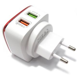Kucni punjac LDNIO A2405Q 2xUSB 5V/4.2A FAST 2.0 za Iphone lightning crveno-beli