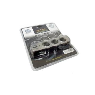 Produzni adapter za upaljac sa 3 rupe+USB P1