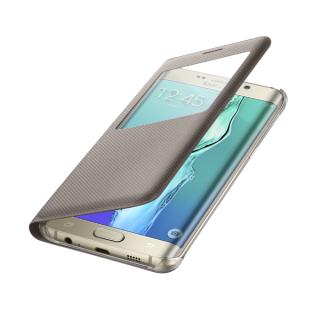 Samsung maska sa preklopom i prozorom S6 Edge Plus zlatna