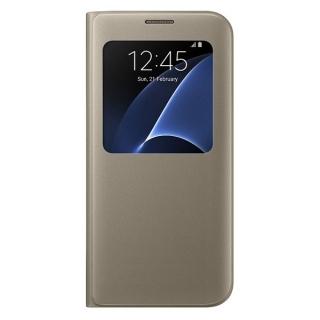 Samsung maska sa preklopom i prozorom S7edge zlatna