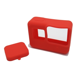 Silikonska maska za GoPro 5 + maska za objektiv crvena