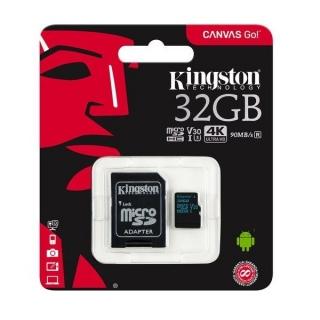 Kingston MicroSDXC 32GB Canvas go class 10 U3+adapter