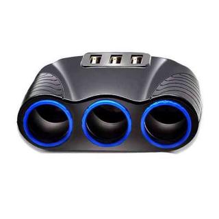 Produzni adapter za upaljac 521 sa 3 rupe+3XUSB crni