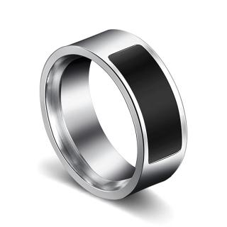Pametni NFC prsten crno-srebrni velicina 9 (R 19mm)